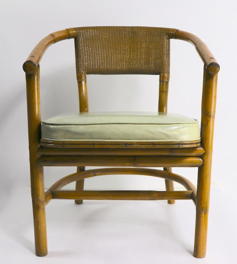 American 2 Matching Bamboo Arm Chairs Attributed to McGuire For Sale