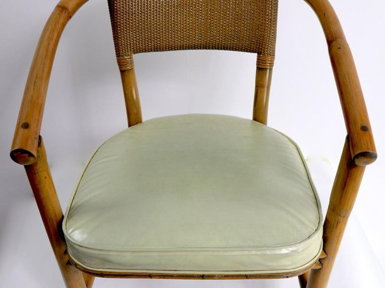 2 Matching Bamboo Arm Chairs Attributed to McGuire In Good Condition For Sale In New York, NY