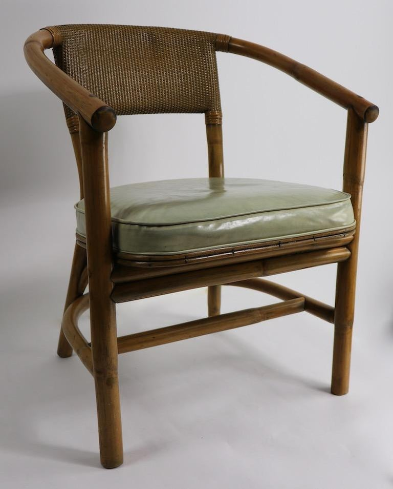 20th Century 2 Matching Bamboo Arm Chairs Attributed to McGuire For Sale