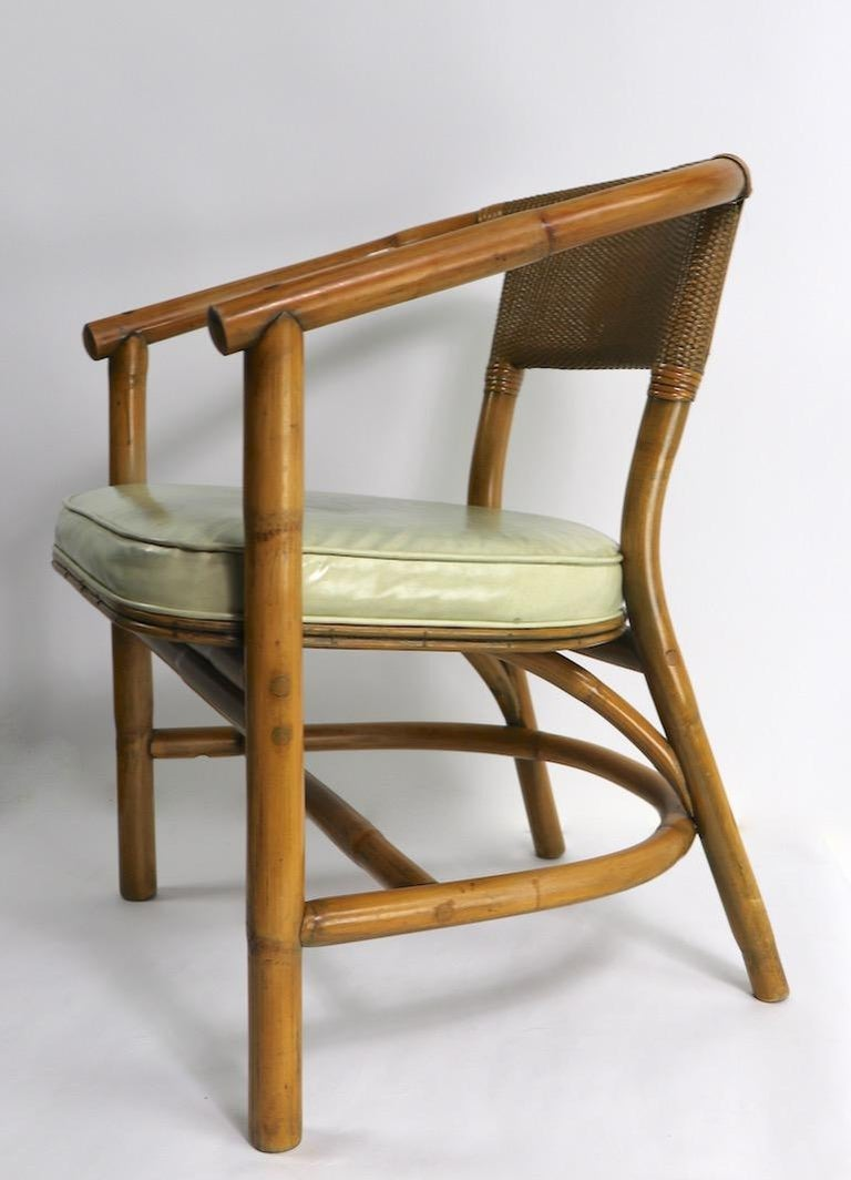 Cane 2 Matching Bamboo Arm Chairs Attributed to McGuire For Sale