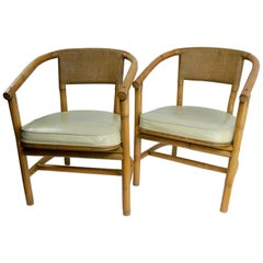 2 Matching Bamboo Arm Chairs Attributed to McGuire