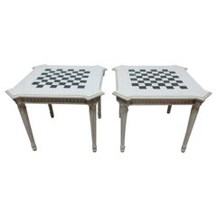 2 Matching Gustavian Chess Side Tables