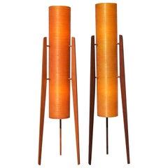 MCM Teak Tripod Floor Lamp W/ Orange Fiberglass Shades-by Sir Terence Conran