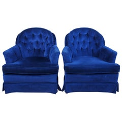 2 Midcentury Continental Hickory White Blue Tufted Club Lounge Chairs