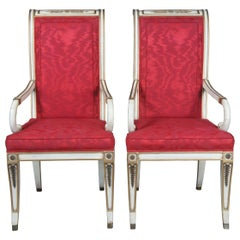 2 Mid Century French Empire White Scrolled Arm Dining Accent Chairs Provincial