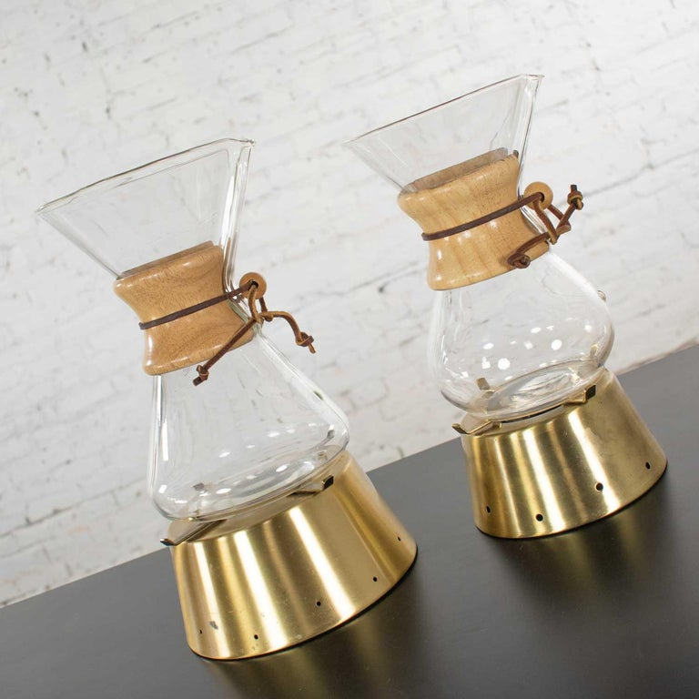 20th Century 2 Mid-Century Modern Chemex Pour Over Coffeemakers, Peter Schlumbohm with Warmer For Sale