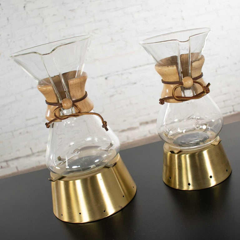 Brass 2 Mid-Century Modern Chemex Pour Over Coffeemakers, Peter Schlumbohm with Warmer For Sale