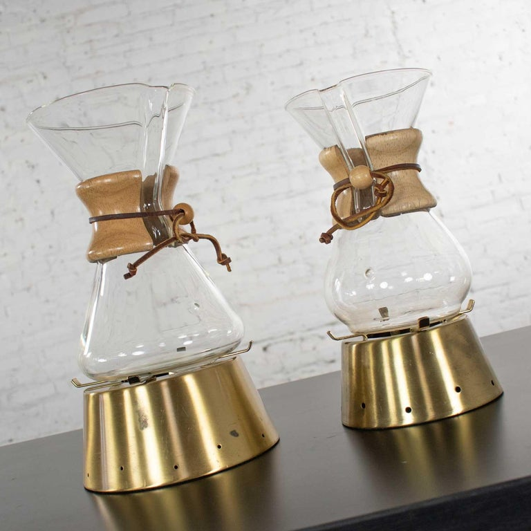 2 Mid-Century Modern Chemex Pour Over Coffeemakers, Peter Schlumbohm with Warmer For Sale 1