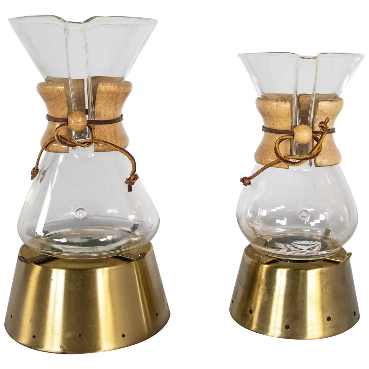 2 Mid-Century Modern Chemex Pour Over Coffeemakers, Peter Schlumbohm with Warmer