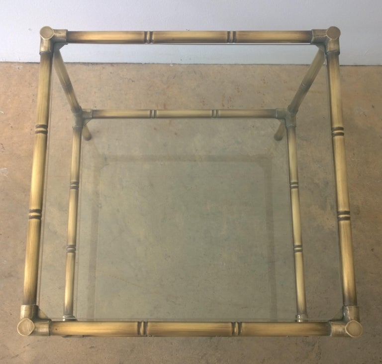 Set of Two Faux Bamboo Brushed Brass and Glass Side Tables or End Tables For Sale 3