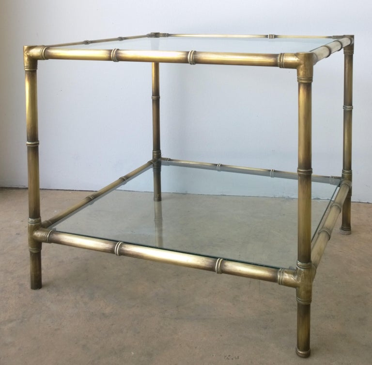 Set of Two Faux Bamboo Brushed Brass and Glass Side Tables or End Tables For Sale 5