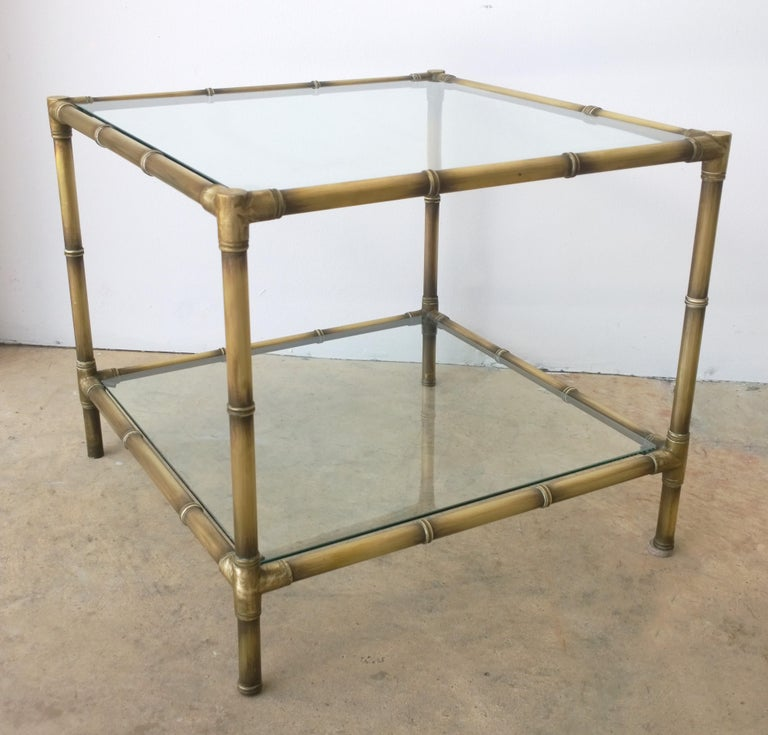 Set of Two Faux Bamboo Brushed Brass and Glass Side Tables or End Tables For Sale 6
