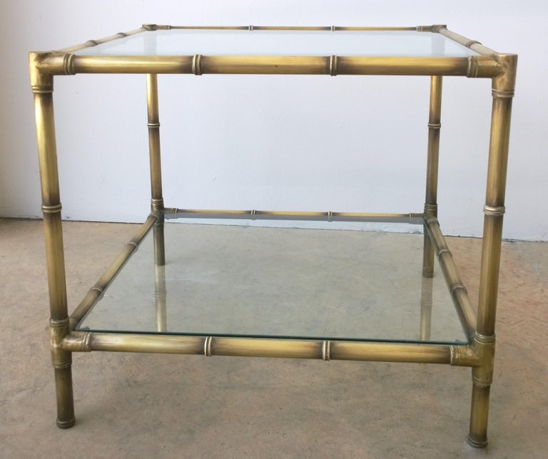 Set of Two Faux Bamboo Brushed Brass and Glass Side Tables or End Tables For Sale 7