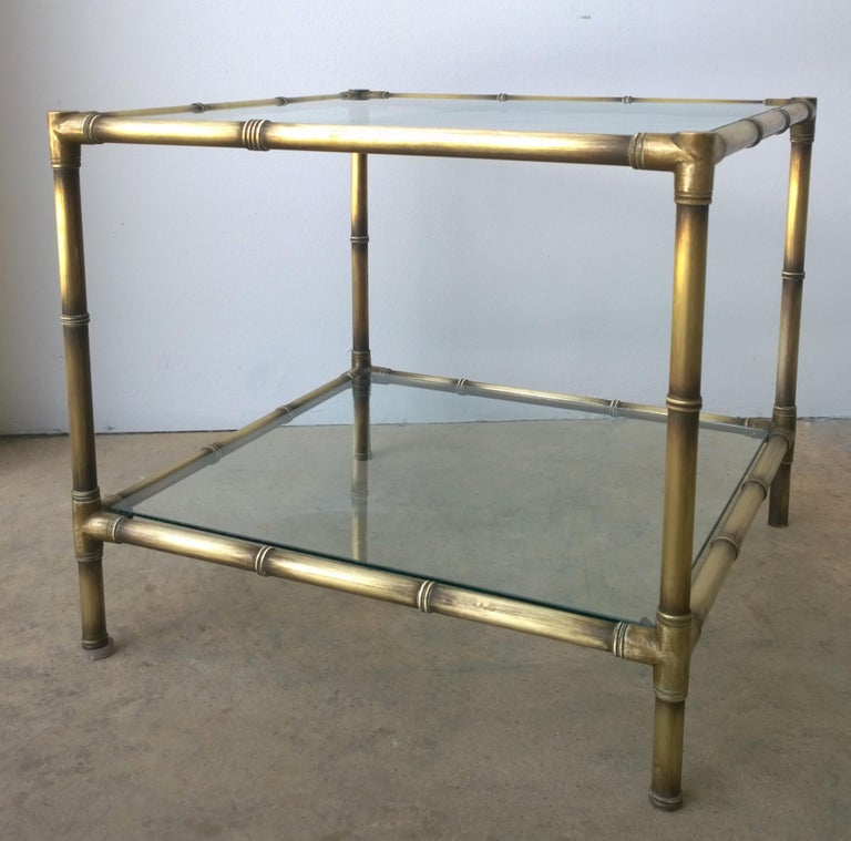Set of Two Faux Bamboo Brushed Brass and Glass Side Tables or End Tables For Sale 8