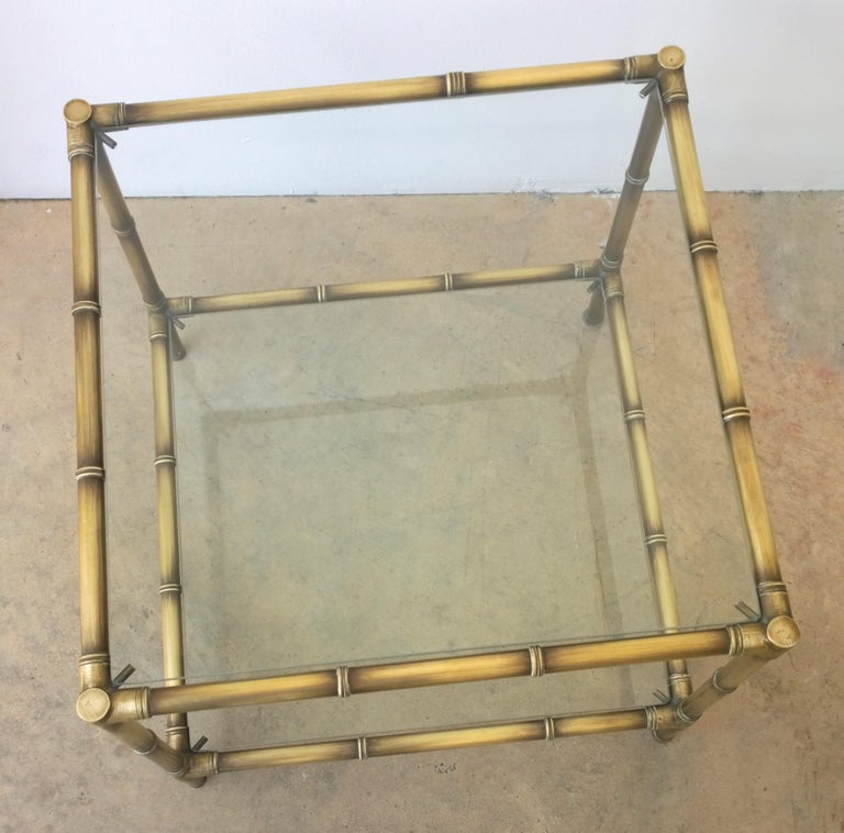 Set of Two Faux Bamboo Brushed Brass and Glass Side Tables or End Tables For Sale 12
