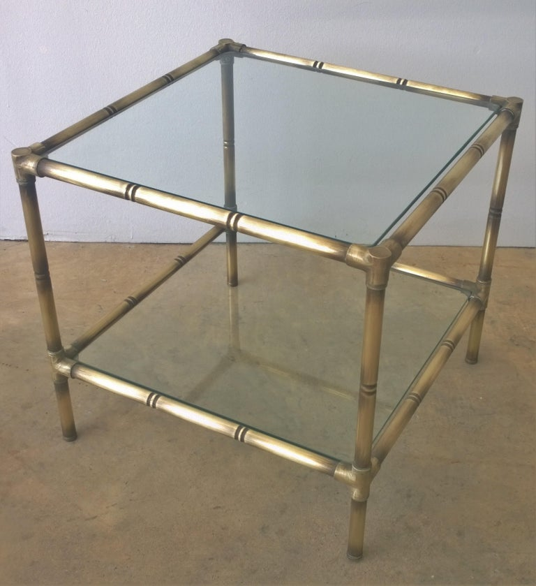 Mid-Century Modern Set of Two Faux Bamboo Brushed Brass and Glass Side Tables or End Tables For Sale