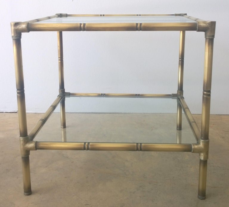 Argentine Set of Two Faux Bamboo Brushed Brass and Glass Side Tables or End Tables For Sale