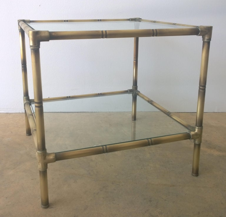 Set of Two Faux Bamboo Brushed Brass and Glass Side Tables or End Tables In Good Condition For Sale In Houston, TX