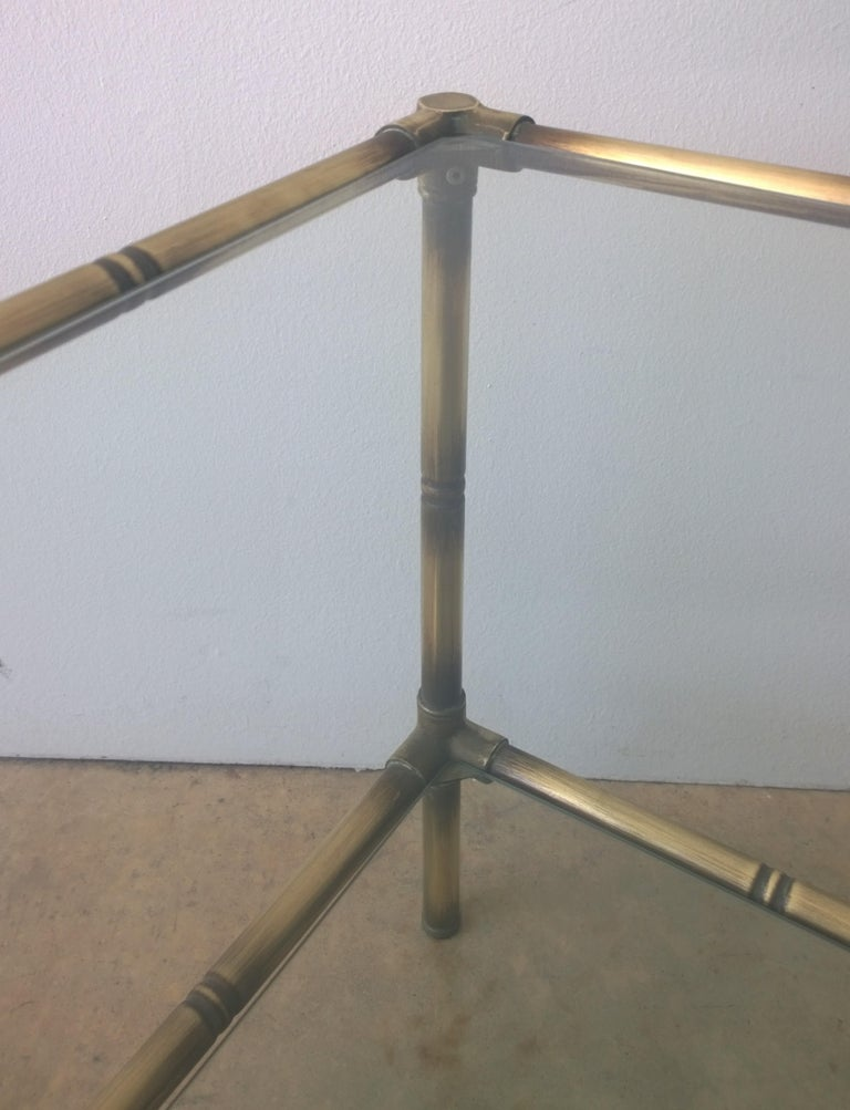 20th Century Set of Two Faux Bamboo Brushed Brass and Glass Side Tables or End Tables For Sale