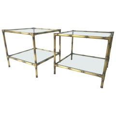 2 Mid-Century Modern Faux Bamboo Brushed Brass & Glass Side / Occasional Tables