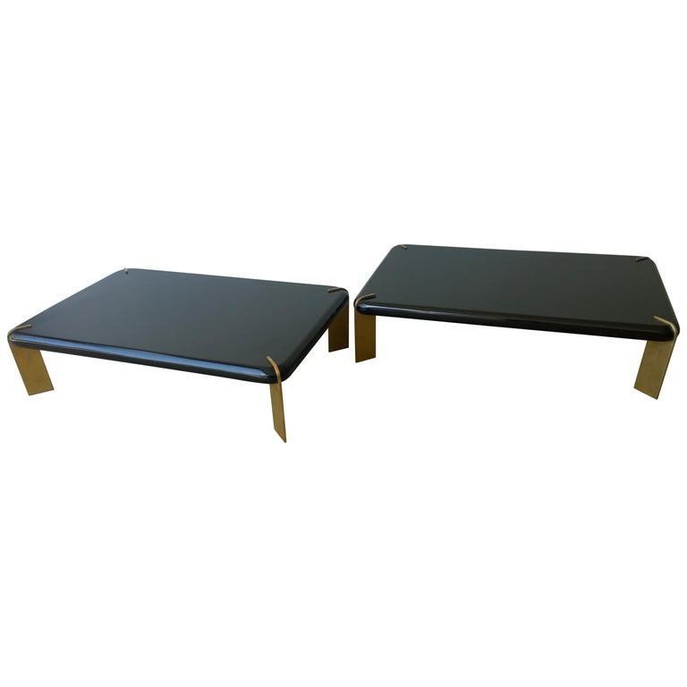 Coffee Table With Bronze Legs: 2 Mid-Century Modern French Lacquered Black And Bronze