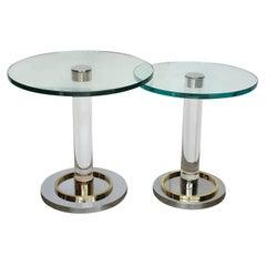 2 Mid-Century Modern Lucite, Glass, Brass & Chrome Charles Hollis Jones Tables