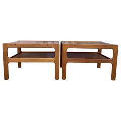 '2' Midcentury Danish Modern Simple Teak End Side Bedside Tables Nightstands