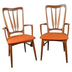 2 Midcentury Danish Modern Teak Dining Ingrid Chairs by Koefoeds Hornslet