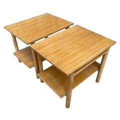 '2' Mid-Century Modern Simple White oak End Side Bedside Tables Nightstands
