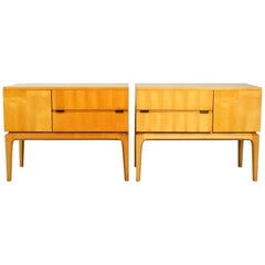 2 Midcentury Nightstands Made of Maple Wood with Clear Varnish Unused Condition