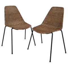 2 Midcentury Wicker Chairs by Campo & Graffi for Home Torino, Italy, circa 1950