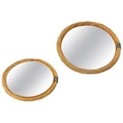 2 Midcentury Woven Wicker Rattan Mirror, 1950s