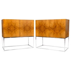 2 Milo Baughman Buffet Cabinets for Thayer Coggin in Olive Burl Wood, 1960s