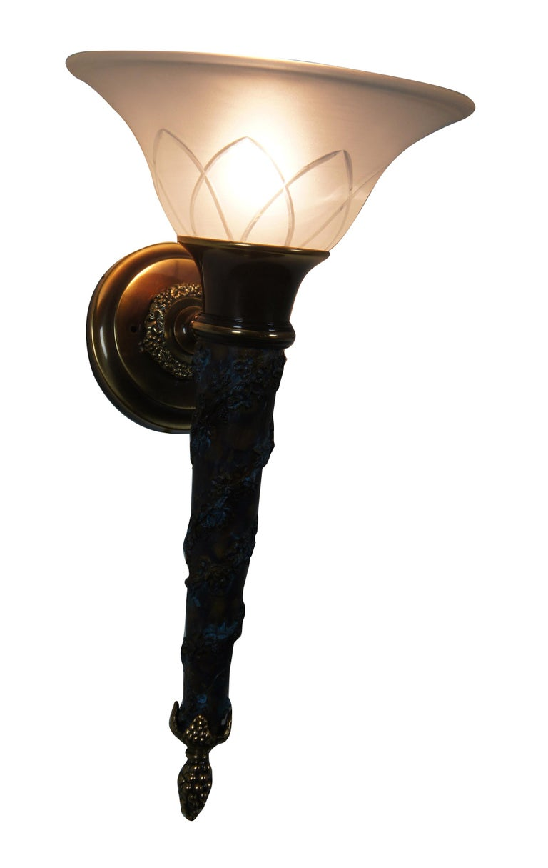 2 Minka Lavery French Empire Torchiere Grape Vine Wall Sconce Light Lantern In Good Condition For Sale In Dayton, OH