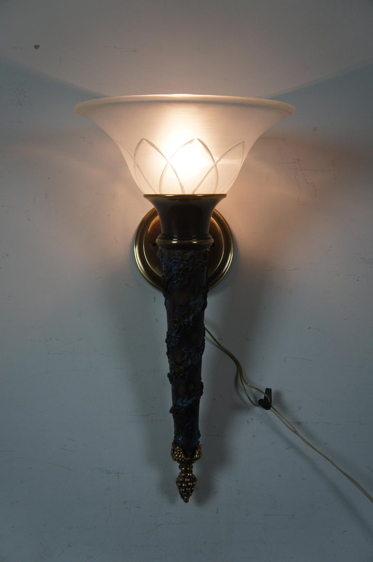 2 Minka Lavery French Empire Torchiere Grape Vine Wall Sconce Light Lantern For Sale 3