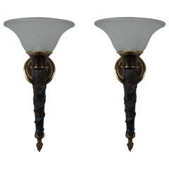 2 Minka Lavery French Empire Torchiere Grape Vine Wall Sconce Light Lantern