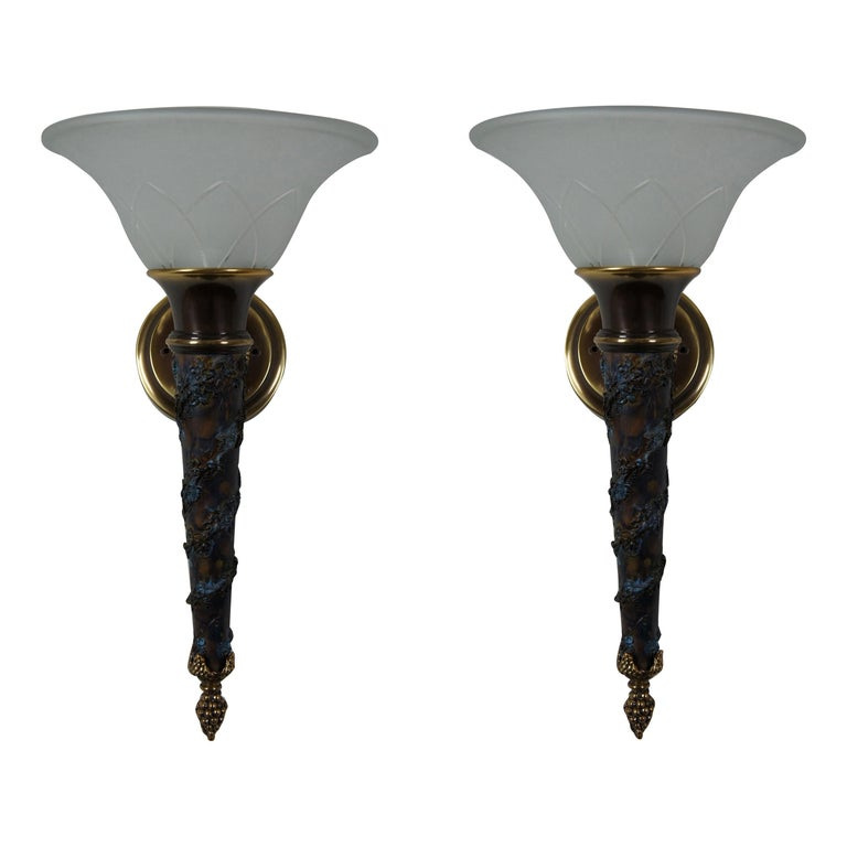 2 Minka Lavery French Empire Torchiere Grape Vine Wall Sconce Light Lantern For Sale