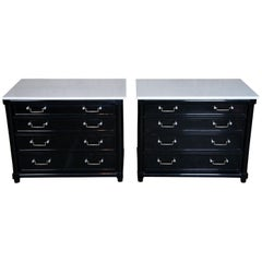 2 Modern Black Marble Top Bedside Chests 4 Drawer Commode Nightstands Dressers
