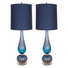 2 Modern Handblown Murano Royal Blue Glass Table Lamps with 24kt Gold Flecks