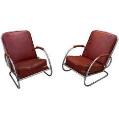 2 Modernist Art Deco Armchairs in Chromed Metal and Faux Leather circa 1920-1930