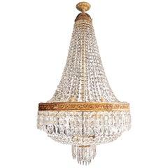 2 Montgolfiè Empire Brass Sac a Pearl Chandelier Crystal Lustre Ceiling Antique