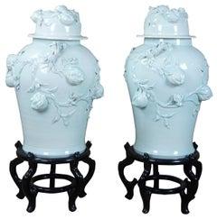 2 Monumental Ceramic Lidded Ginger Jar Palace Urns Pomegranate Vases on Stands