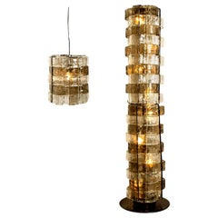 2 Murano Light Fixtures by Carlo Nason, for Mazzega, Italy, circa 1969