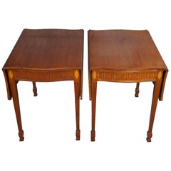 2 Nathan Margolis Sheraton Federal Style Inlay Mahogany Drop Leaf Side Tables 2