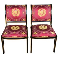 2 Neoclassical French Regency Black & Gold Side Chairs Scalamandre Sleigh Back