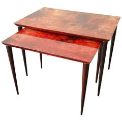 2 Nesting Tables by Aldo Tura for Tura Mobili Italy 1960 Midcentury Red Goatskin