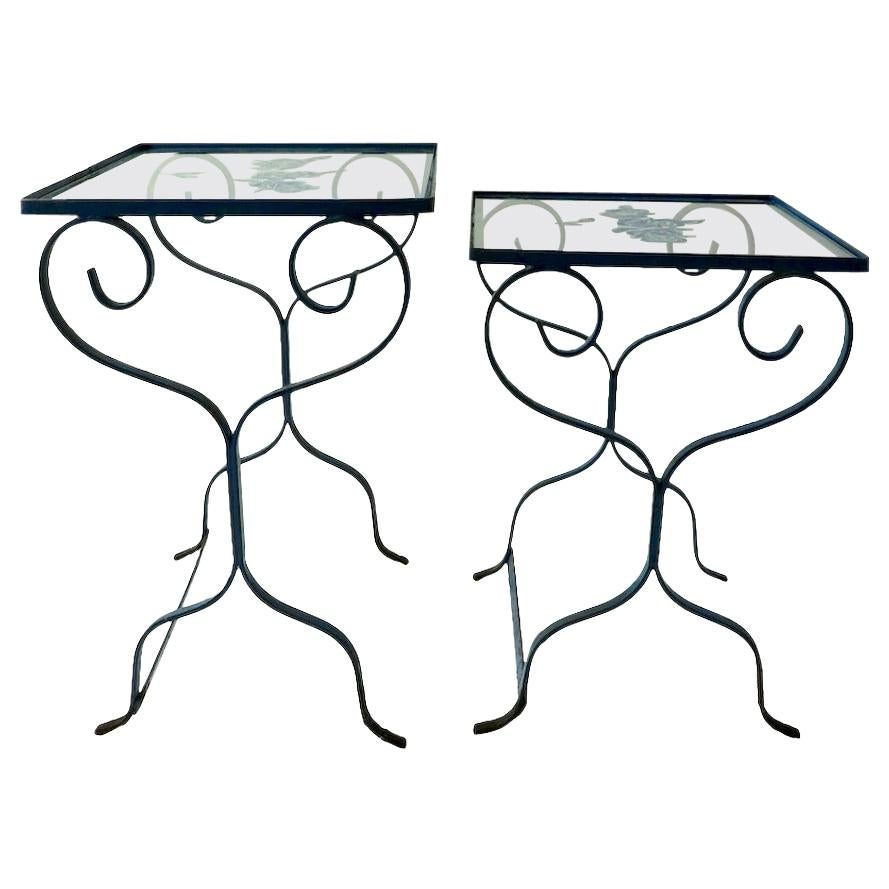2 Nesting Wrought Iron Tables with Glass Tops Attributed to Salterini