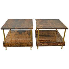 2 Nightstands by Aldo Tura for Tura Milano, Italy, Midcentury Brown Goatskin