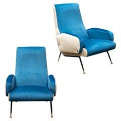2 Nino Zoncada Mid-Century Modern Velvet Armchairs, Italy, 1955s