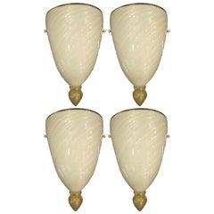 2 of Pairs Italian Mid-Century Modern Venetian / Murano Glass Sconces, Barovier
